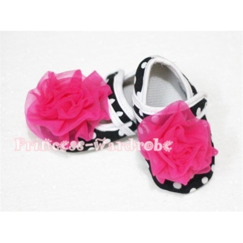 Baby Black White Poika Dot Crib Shoes with Hot Pink Rosettes S54