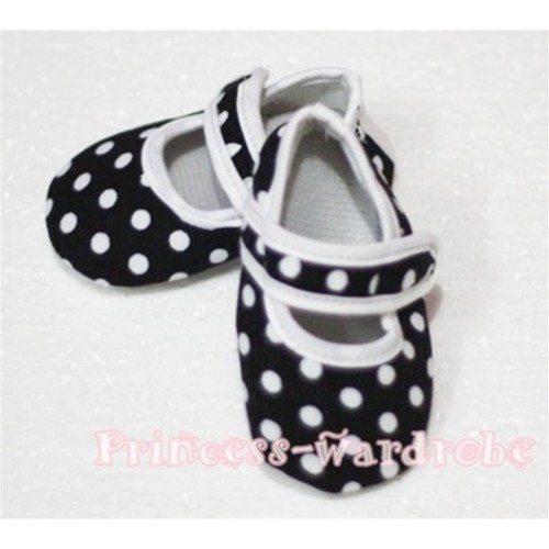 Baby Black White Poika Dot Crib Shoes S56
