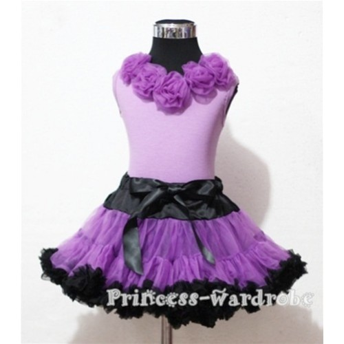 Black Dark Purple Pettiskirt with Matching Dark Purple Rosettes Purple Tank Top MN23