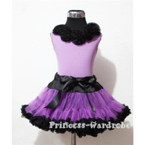 Black Dark Purple Pettiskirt with Matching Black Rosettes Purple Tank Top MN27