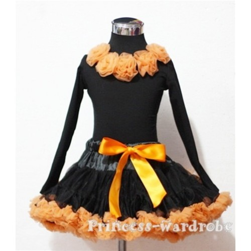 Black Orange Pettiskirt Matching Orange Rosettes Black Long Sleeves Top MN42