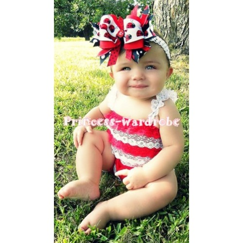 Red White Lace Ruffles Petti Rompers with White Straps LR24