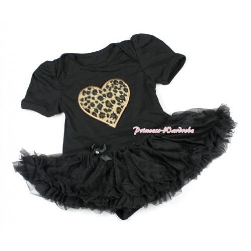 Black Baby Bodysuit Jumpsuit Black Pettiskirt with Leopard Heart Print JS1435