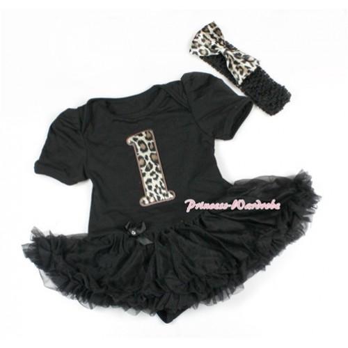 Black Baby Bodysuit Jumpsuit Black Pettiskirt With 1st Leopard Birthday Number Print With Black Headband Leopard Satin Bow JS1491