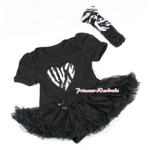 Black Baby Bodysuit Jumpsuit Black Pettiskirt With Zebra Heart Print With Black Headband Zebra Satin Bow JS1492