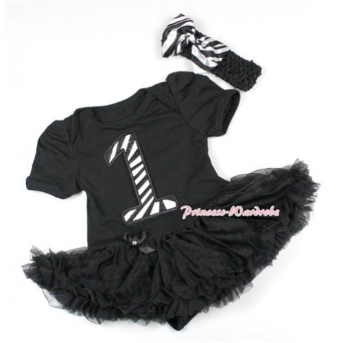 Black Baby Bodysuit Jumpsuit Black Pettiskirt With 1st Zebra Birthday Number Print With Black Headband Zebra Satin Bow JS1493