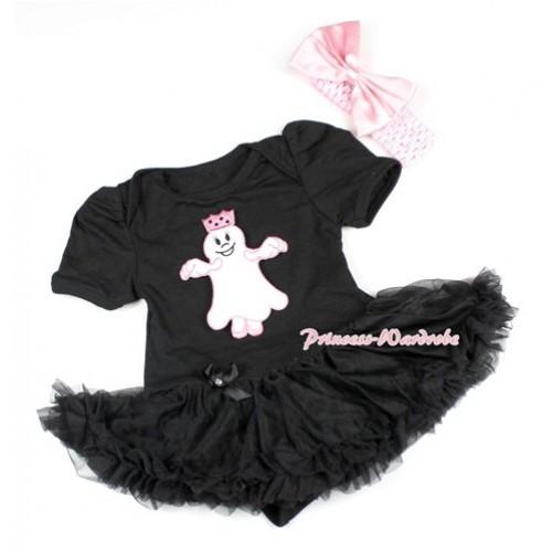 Halloween Black Baby Bodysuit Jumpsuit Black Pettiskirt With Princess Ghost Print With Light Pink Headband Light Pink Satin Bow JS1496