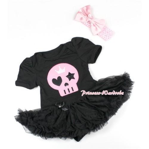 Halloween Black Baby Bodysuit Jumpsuit Black Pettiskirt With Light Pink Skeleton Print With Light Pink Headband Light Pink Satin Bow JS1497
