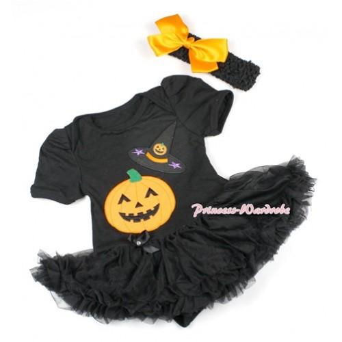 Halloween Black Baby Bodysuit Jumpsuit Black Pettiskirt With Pumpkin Witch Hat & Pumpkin Print With Black Headband Black Satin Bow JS1500