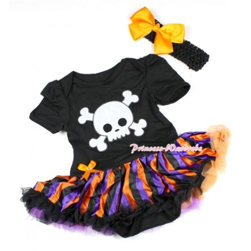 Halloween Black Baby Bodysuit Jumpsuit Orange Purple Black Striped Pettiskirt With White Skeleton Print With Black Headband Orange Silk Bow JS1501