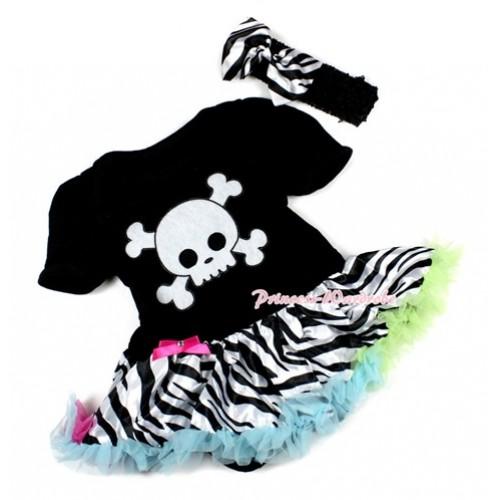 Halloween Black Baby Bodysuit Jumpsuit Rainbow Zebra Pettiskirt With White Skeleton Print With Black Headband Zebra Satin Bow JS1503