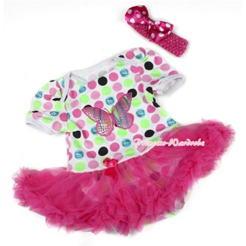 Rainbow Cat Polka Dots Baby Bodysuit Jumpsuit Hot Pink Pettiskirt With Rainbow Butterfly Print With Hot Pink Headband Hot Pink White Dots Satin Bow JS1510