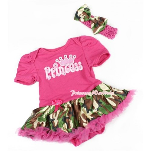 Hot Pink Baby Bodysuit Jumpsuit Hot Pink Camouflage Pettiskirt With Princess Print With Hot Pink Headband Camouflage Satin Bow JS1471