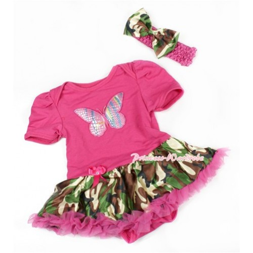 Hot Pink Baby Bodysuit Jumpsuit Hot Pink Camouflage Pettiskirt With Rainbow Butterfly Print With Hot Pink Headband Camouflage Satin Bow JS1475