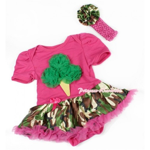 Hot Pink Baby Bodysuit Jumpsuit Hot Pink Camouflage Pettiskirt With Kelly Green Rosettes Ice Cream Print With Hot Pink Headband Camouflage Rose JS1480
