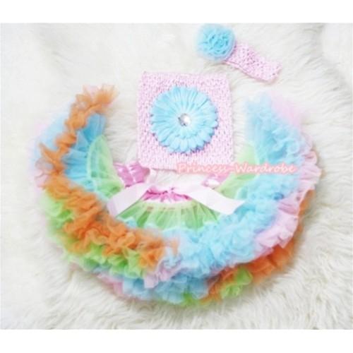 Light Pink Lime Green Light Blue Pettiskirt, Light Blue Flower and Light Pink Crochet Tube Top, Light Pink Headband with Light Blue Rose 3PC Set CT245