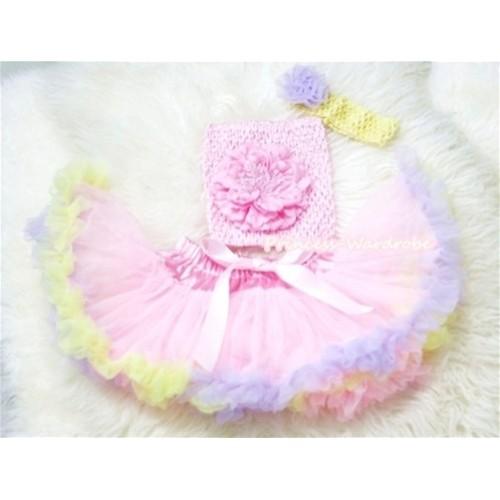 Light Pink Rainbow Mix Pettiskirt, Light Pink Peony and Crochet Tube Top, Yellow Headband with Lavender Rose 3PC Set CT195