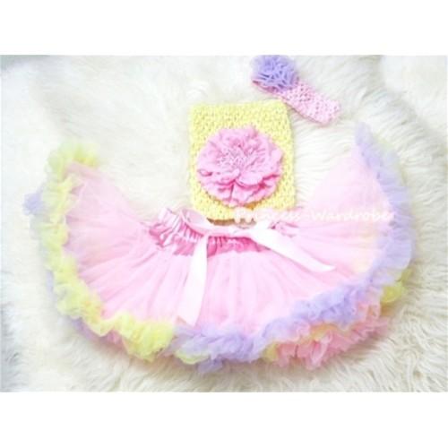 Light Pink Rainbow Mix Pettiskirt, Light Pink Peony Yellow Crochet Tube Top, Light Pink Headband with Lavender Rose 3PC Set CT197