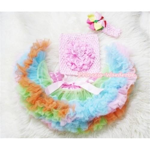Light Pink Lime Green Light Blue Pettiskirt, Light Pink Peony and Light Pink Crochet Tube Top, Light Pink Headband with Rainbow Hair Clip 3PC Set CT196