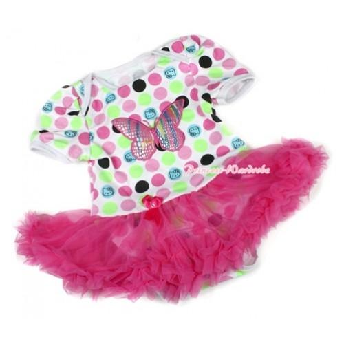Rainbow Cat Polka Dots Baby Bodysuit Jumpsuit Hot Pink Pettiskirt with Rainbow Butterfly Print JS1447