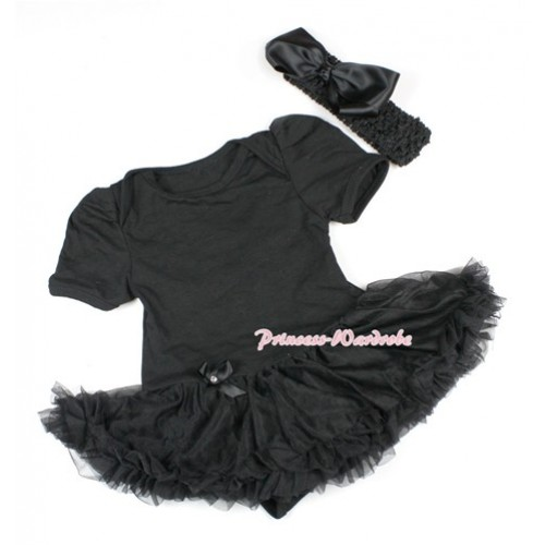 Black Baby Bodysuit Jumpsuit Black Pettiskirt With Black Headband Black Silk Bow JS1451