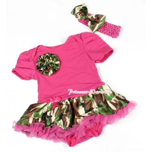 Hot Pink Baby Bodysuit Jumpsuit Hot Pink Camouflage Pettiskirt With One Camouflage Rose With Hot Pink Headband Camouflage Satin Bow JS1453