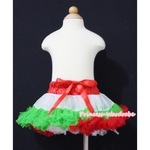 X'mas Hot Red White Dark Green NewBorn Baby Pettiskirt N089