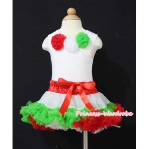 White Tank Top with Hot Red White Dark Green Rosettes & X'mas Hot Red White Dark Green Baby Pettiskirt NG539-1