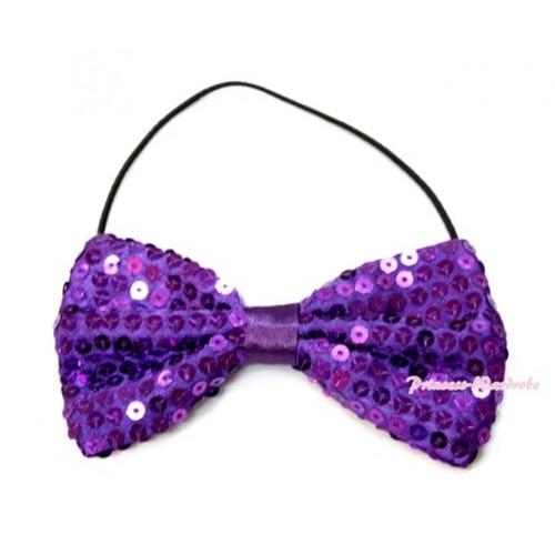 Sparkle Sequin Dark Purple Boys Wedding Party Suit Bowtie Bow BT08