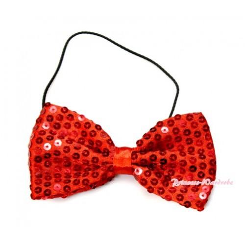 Sparkle Sequin Hot Red Boys Wedding Party Suit Bowtie Bow BT20