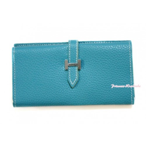 Aqua Blue Leather Adult Women Long Clutch Purse Zipper Wallet CB98