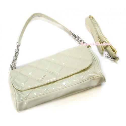 Cream White Long Diamond Checked Adult Girl Women Shoulder Handbag Purse With Strap CB101