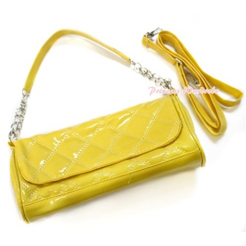 Yellow Long Diamond Checked Adult Girl Women Shoulder Handbag Purse With Strap CB102