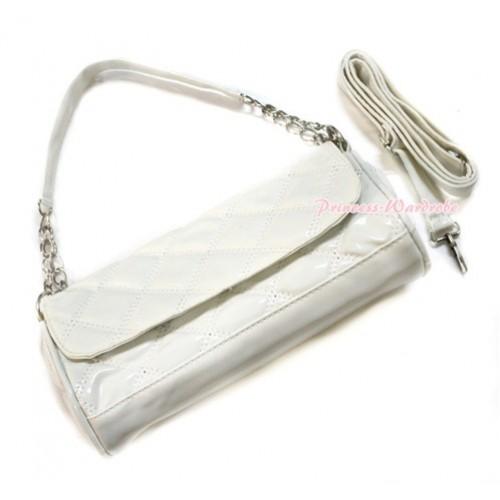 White Long Diamond Checked Adult Girl Women Shoulder Handbag Purse With Strap CB108