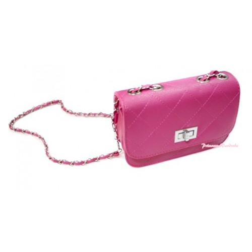 Gold Chain Hot Pink Checked Leather Little Cute Petti Shoulder Bag CB110