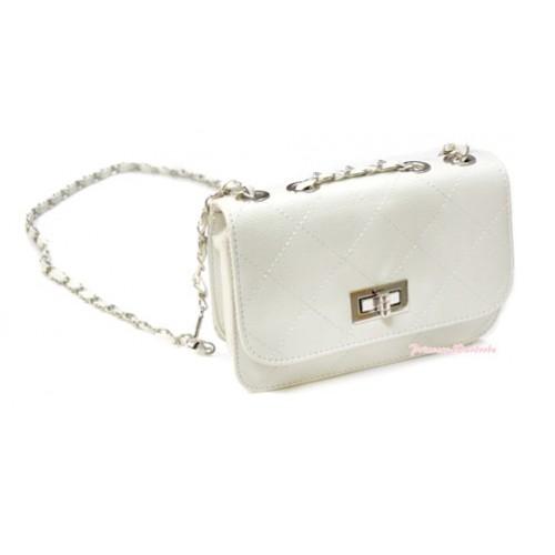 Gold Chain White Checked Leather Little Cute Petti Shoulder Bag CB111