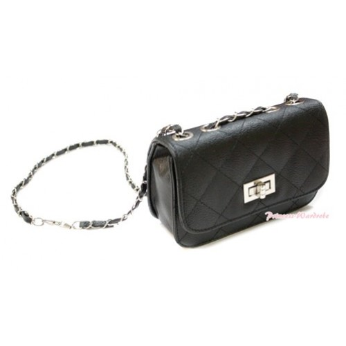 Gold Chain Black Checked Leather Little Cute Petti Shoulder Bag CB112
