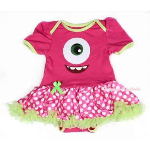 Green Brim Hot Pink Baby Bodysuit Jumpsuit Green Ruffles Hot Pink White Dots Pettiskirt with Big Eyes Monster Print JS1513