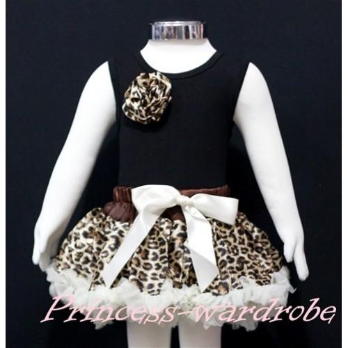 Black Newborn Pettitop & Leopard Rosettes with Cream White Leopard Newborn Pettiskirt NG164
