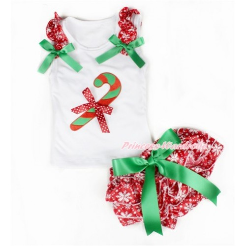 Xmas White Baby Pettitop & Red Snowflakes Ruffles & Kelly Green Bows & Christmas Stick Print & Minnie Dots Bow & Kelly Green Bow Red Snowflakes Satin Bloomers LD224