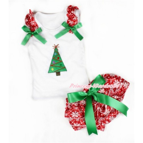 Xmas White Baby Pettitop & Red Snowflakes Ruffles & Kelly Green Bows & Christmas Tree Print & Kelly Green Bow Red Snowflakes Satin Bloomers LD225