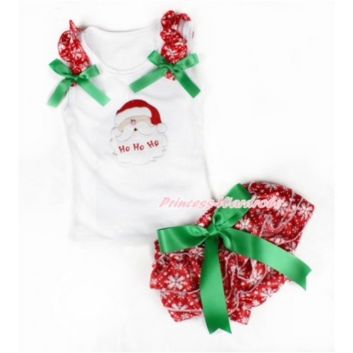 Xmas White Baby Pettitop & Red Snowflakes Ruffles & Kelly Green Bows & Santa Claus Print & Kelly Green Bow Red Snowflakes Satin Bloomers LD226