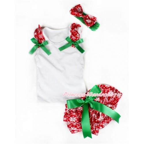 Xmas White Baby Pettitop & Red Snowflakes Ruffles & Kelly Green Bows with Kelly Green Bow Red Snowflakes Satin Bloomers With Green Headband Snowflakes Satin Bow LD227