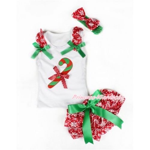 Xmas White Baby Pettitop & Red Snowflakes Ruffles & Kelly Green Bows & Christmas Stick Print & Minnie Dots Bow with Kelly Green Bow Red Snowflakes Satin Bloomers with Green Headband Snowflakes Satin Bow LD228