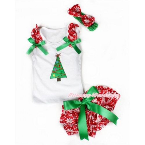 Xmas White Baby Pettitop & Red Snowflakes Ruffles & Kelly Green Bows & Christmas Tree Print with Kelly Green Bow Red Snowflakes Satin Bloomers with Green Headband Snowflakes Satin Bow LD229