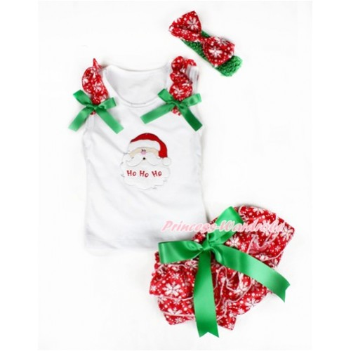 Xmas White Baby Pettitop & Red Snowflakes Ruffles & Kelly Green Bows & Santa Claus Print with Kelly Green Bow Red Snowflakes Satin Bloomers with Green Headband Snowflakes Satin Bow LD230