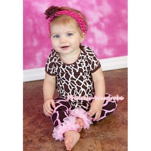 Giraffe Print Baby Jumpsuit with Light Pink Ruffles Leg Warmer Set TH222