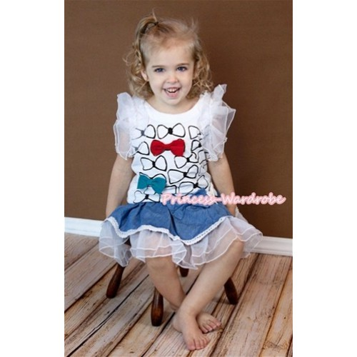 Bow tie Print Top Gown Pageant Girl Party Dress 2PC Set PD013