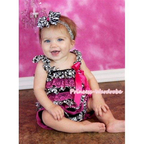 Damask Hot Pink Layer Chiffon Romper with Hot Pink Bow & Straps LR114
