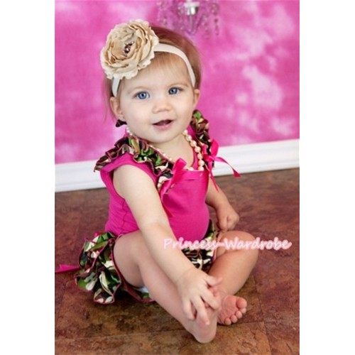 Hot Pink Baby Pettitop & Camouflage Ruffles & Hot Pink Bows with Hot Pink Big Bow Camouflage Satin Bloomers LD215